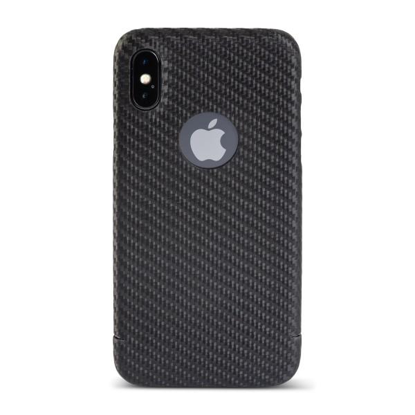 Carbon Cover iPhone X met Logo Window