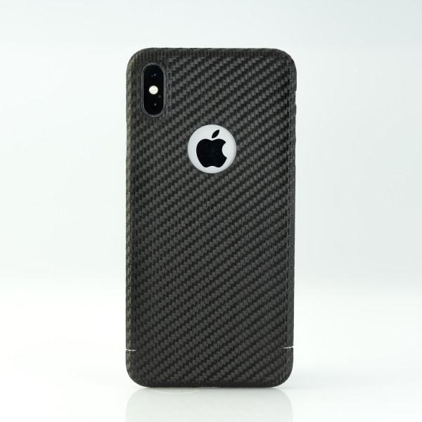 Carbon Cover iPhone Xs Max met Logo Window