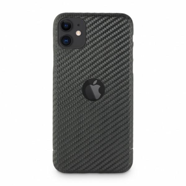 Carbon Cover iPhone 11 met Logo Window