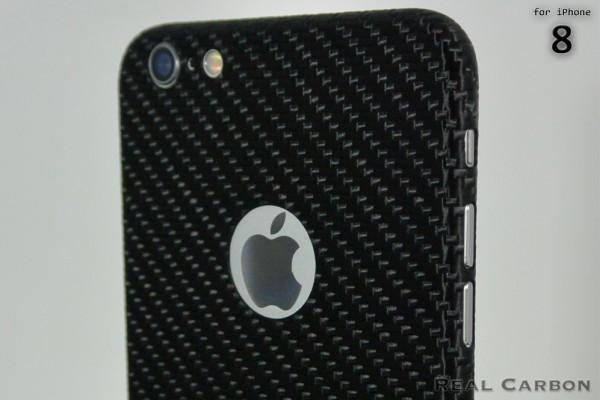 Carbon Cover iPhone 8 met Logo Window
