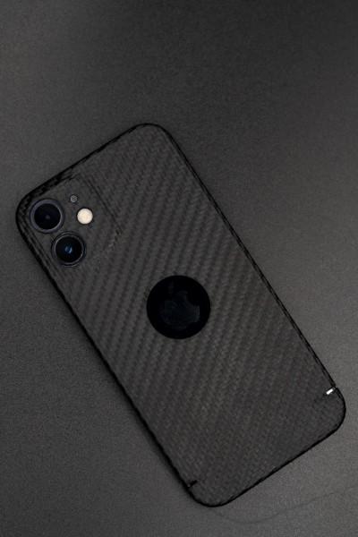 Carbon Cover iPhone 12 Mini met Logo Window